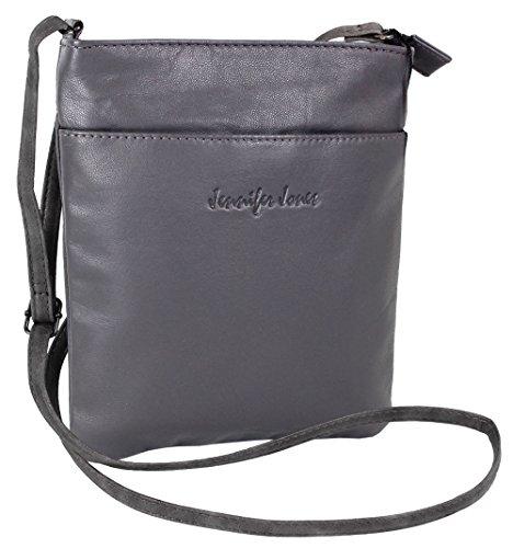 Jennifer Jones Taschen Damen 100% Leder Damentasche Handtasche Schultertasche Umhängetasche Tasche klein Crossbody Bag grau / schwarz / taupe (6124) (Grau)
