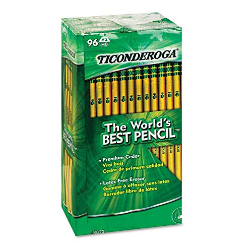 Ticonderoga 13872 Woodcase Pencil, HB #2, Yellow Barrel, 96/Pack