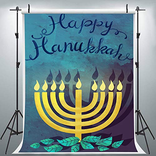 Happy Hanukkah Banner Chanukah Decorations Backdrops for Photography, Party Israel Hebrew Menorah Blue Shiny Lamps Chanukah Festive Decor Background, Photo Booth Picture Props DSLU549