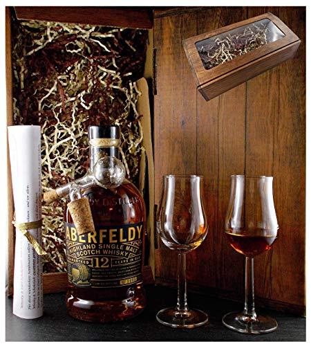 Geschenk Aberfeldy 12 Jahre Single Malt Whisky + Glaskugelportionierer + 2 Bugatti Gläser