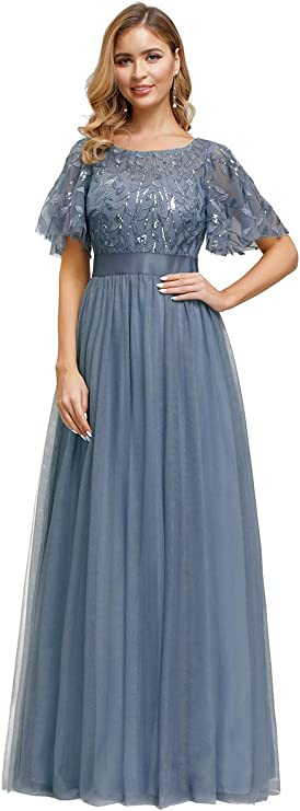 1930s Evening Dresses | Old Hollywood Silver Screen Dresses Ever-Pretty Womens A-Line Empire Waist Embroidery Evening Prom Dress 0904 $49.99 AT vintagedancer.com