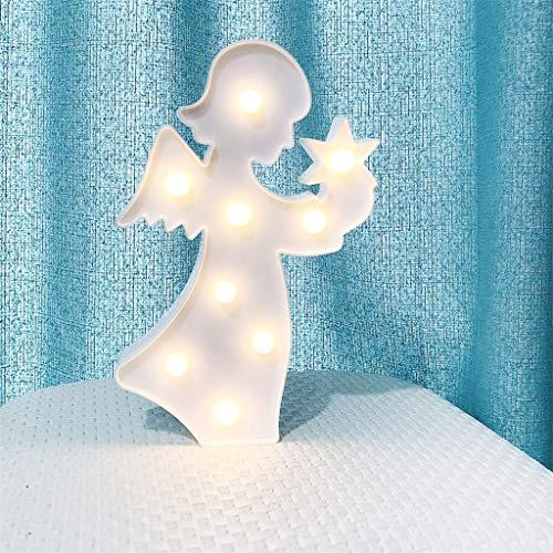 Bright table lamp Lampe de table, Angel Side Lampe de table, Creative Led de cadeau de Noël for la maison chambre d'enfant Lampe de chevet Décoration Cartoon Enfants (Color : White)