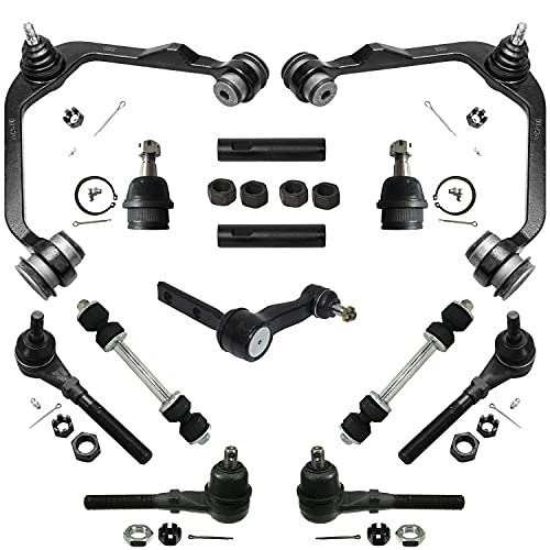 """Complete 13-Piece 4x4 Only Front Suspension Kit Includes Upper Control Arms, Lower Ball Joints, Inner and Outer Tie Rod Ends, Sway Bar End Links, Adjustment Sleeves and Idler Arm w/2.5"""" Bolt Pattern"""