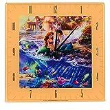 Mark Feldstein & Associates Little Mermaid Disney Kinkade Ocean Blue 11 inch Glass Square Wall Clock