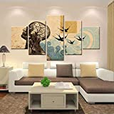 LTXMZ 5 lienzos decoración Cartel Moderno Arte Hombre Retro, Golondrinas HD Cuadros para para Interiores de