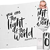 """Ocean Drop 100% Cotton Muslin Swaddle Baby Blanket – 'The Light' Quote with Gift Box for Baptism, Christening Gift for Godson, Goddaughter, Neutral, Baby Shower – Super Soft, Breathable, Large """"47x47"""""""