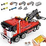 PLEX Técnica - Camión de grúa con mando a distancia, motor, batería, 1498 piezas, compatible con camión de remolque Lego Technic