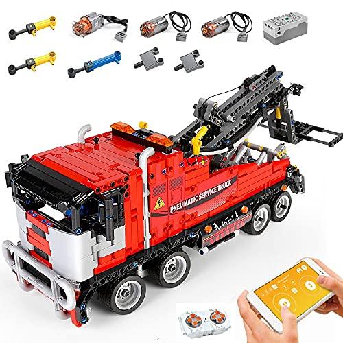 KEAYO Technik Abschlepptruck Ferngesteuert, Mould King 19001, Technik Abschleppwagen Model mit 2.4G Fernbedienung und Motoren, Klemmbausteine Bauset Kompatibel mit Lego Technic
