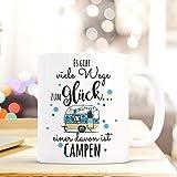 ilka parey wandtattoo-welt® Tasse Becher Kaffeetasse Kaffeebecher Camping Wohnwagen Wohnmobil mit Punkten und Spruch viele Wege zum Glück. campen ts463