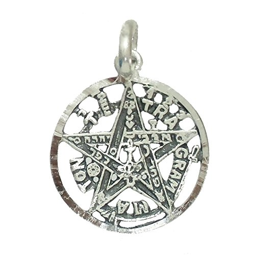 Colgante Plata Ley 925M Tetragramatón 19mm. Unisex Amuleto Estrella Calado