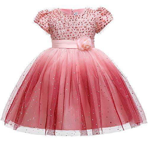 Carnaval Costume, Kolylong Deguisement Fille Princesse Robe Robe de soirée Chic Rose 140