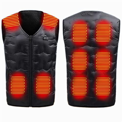 FR&RF 10 Áreas Calefacción eléctrica Chaqueta Hombres Mujeres Sportswear Abrigo con calefacción Grafeno Abrigo con calefacción USB Cargando Chaleco calentado para Acampar,Negro,4XL