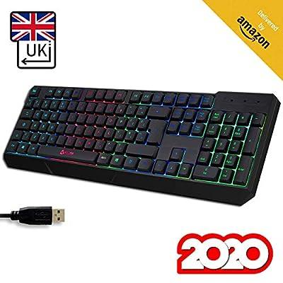 KLIM™ Chroma Gaming Keyboard UK Layout + Slim, Durable, Ergonomic, Quiet, Waterproof, Silent Keys, USB + Wired Backlit Keyboard for Laptop PC Mac Gamer PS4 keyboard + NEW 2020 VERSION + Black