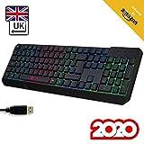 KLIM Chroma Clavier Gamer QWERTY UK Filaire USB - Haute Performance - Éclairé chromatique Gaming Noir RGB - PC, PS4 & Xbox One [ Nouvelle Version 2020 ]