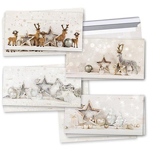 Weihnachtskarten-SET 3 x 4 weiß gold silber grau natürliche weihnachtliche Karten Rentier Hirsch Shabby chic DIN lang MIT KUVERT exklusiv besonders schön