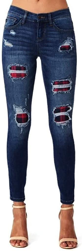 Women's Skinny Jeans Flare High Waist Button Drawstring Waist Bell Bottom Slim Jeans Denim Pants Pencil Pants