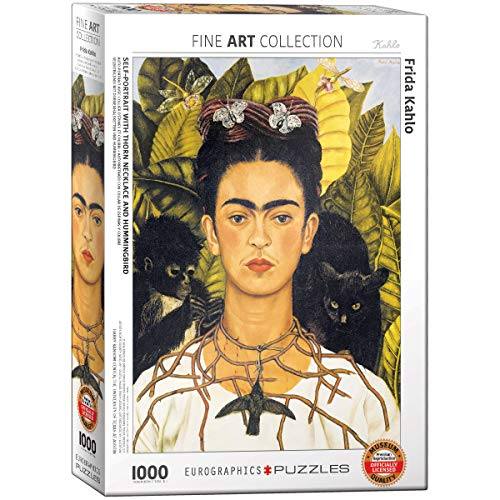 puzzle quadri EuroGraphics  Frida Kahlo Autoritratto con Spine Collana e Colibrì Puzzle (1000-Piece