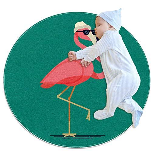 PLOKIJ Alfombra circular pequeña antideslizante redonda alfombra lavable alfombra de suelo alfombra uso para guardería, divertido flamenco con gafas