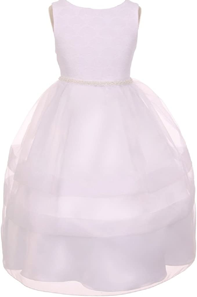 BluNight Collection Fan Shape Design Communion Little Girl Special Occasion Dress