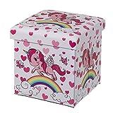 Púff Unicornio tapizado Infantil Rosa de Madera de 38x38x38 cm - LOLAhome