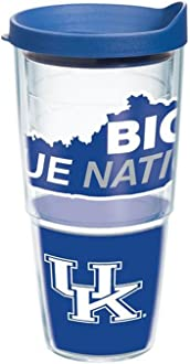 Clear Tervis 1217975 Kentucky Wildcats Colossal Tumbler with Wrap and Blue Lid 16oz