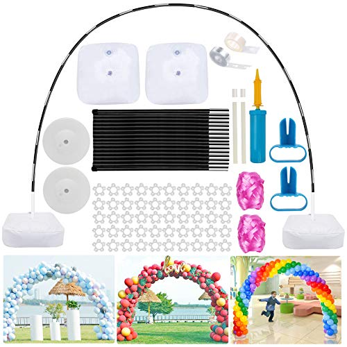 Hicdaw 80Pcs Balloon Arch Kit With Base, 12FT Wide High Adjustable Balloon Stand with Water Fillable Base, Balloon Clips, Balloon Pump Knotter for Wedding Graduation Birthday Party Decorations