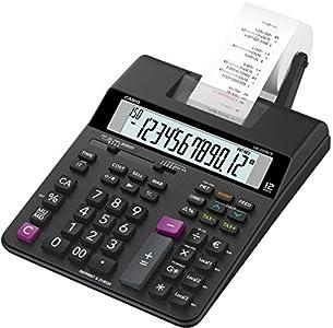 Casio HR-200RCE Calculadora de impresión Pantalla LCD de 12 dígitos, negra