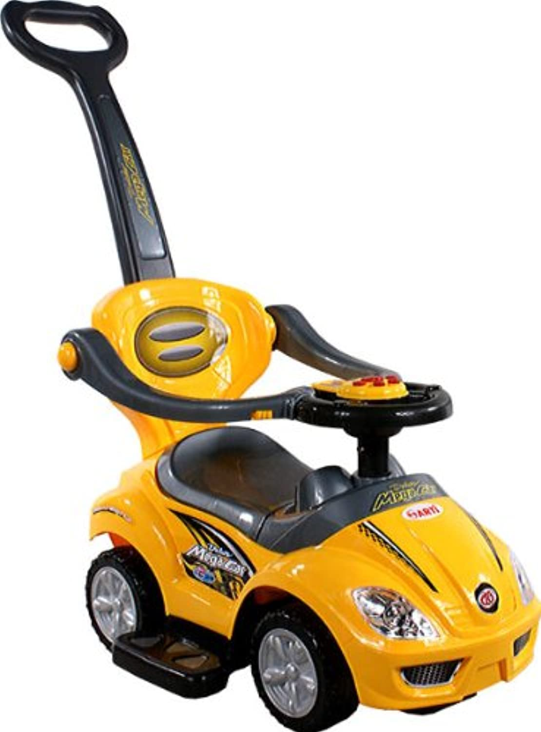 ARTI Baby Car 382 Mega Car Deluxe Yellow RideOn Activity Toy with Parent Handle