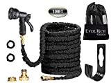 Ever Rich 100FT Expandable Flexible Garden Hose Pipe Brass Fittings & Spray Gun