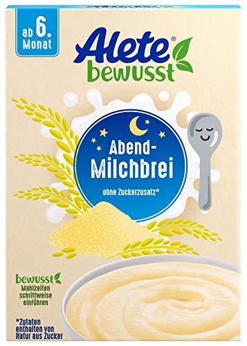 Alete bewusst Abend-Milchbrei, Babybrei ohne Zuckerzusatz, glutenfrei & ohne Palmöl, ab dem 6 Monat, 400 g 84507