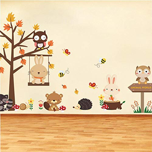Bos uil vlinder schommel konijntje eekhoorntje muursticker sticker dier boom kinderkamer babykamer decoratie thuis