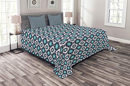 ABAKUHAUS Boho Tagesdecke Set, Folkloric Marokko Tile Inspire, Set mit Kissenbezügen farbfester Digitaldruck, für Doppelbetten 264 x 220 cm, Seafoam Dark Blue