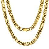 Cadena de Curb Cuban Collar Acero Inoxidable Chapado en Oro Amarillo 18K 6mm Anchura 18 Inch Longitud Estilo Hip Hop Hipoalergénico