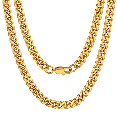 ChainsPro Men Chunky Miami Cuban Chain Necklace, Custom Available, 6/9/14mm Width, 18/20/22/24/26/28/30inch Length, Gold Plated/Stainless Steel/Black-with Gift Box