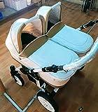 Carro gemelar 3en1. Desde naciemiento hasta 3 años. Capazos + sillas + sillas de coche. BBtwin cochecito polipiel doble trio (blanco + dorado)