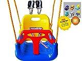 LITTLEFUN 3 in 1 da Bambino a Adolescente Versione di aggiornamento Rimovibile Altalena per Bambini Set per Giardino Domestico Patio Interni all'aperto (Sedia Blu + Kit di Sospensione)