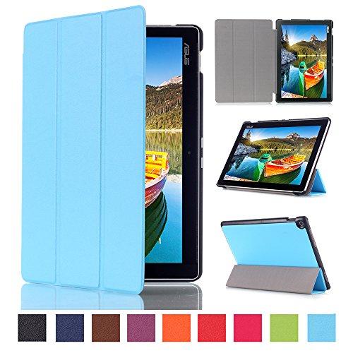 WindTeco ASUS ZenPad 10 Hülle, Ultra Dünn Leder Schutzhülle mit Auto Aufwachen/Schlaf Funktion für ASUS Zenpad 10 Z301MFL / Z2301ML / Z300M / Z300C / Z300CG / Z300CL Tablet, Hellblau