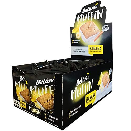 Muffin Banana com Canela e Chia Sem Açúcar Sem Glúten Sem Lactose Belive 40g Display com 10 unidades