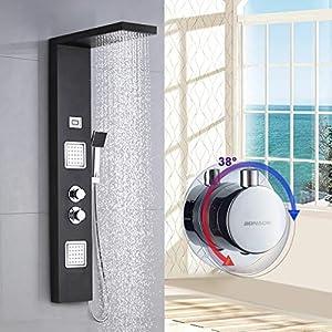 BONADE Panel de Ducha Termostático LCD Panel de Hidromasaje en Acero Inoxidable con Ducha de Mano y Manguera de Baño - Negro