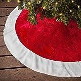 Ivenf Christmas Tree Skirt, 48 inches Large Plush Mercerized Velvet Skirt, Rustic Xmas Tree Holiday Decorations