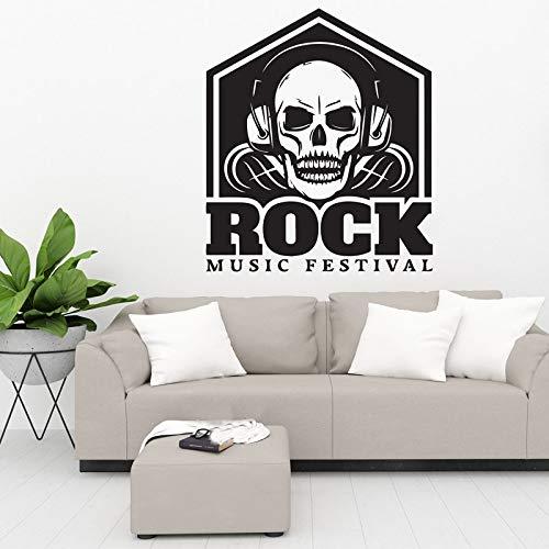 Wopiaol Schedel koptelefoon teken muziekdecoratie rok musical festival club deco DIY muurkunst vinyl sticker wallpaper