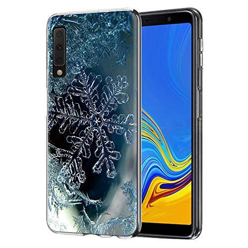 ZhuoFan Cover Samsung A7 2018, Custodia Cover Trasparente con Natale Disegni Ultra Slim TPU Silicone Morbido Antiurto 3D Cartoon Bumper Case per Samsung Galaxy A7 2018 Smartphone (Fiocco di Neve)