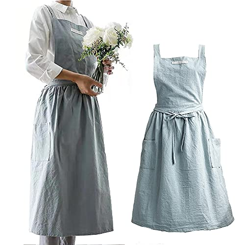 Womens Aprons Cotton and linen Cross Back Adjustable Bib Apron Kitchen Cooking Aprons for Women with Pockets Cute for Baking Painting Gardening Cleaning(Light blue)