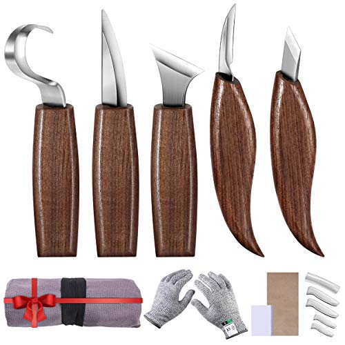 Puimentiua 10pcs Wood Carving Tools Set Hook Carving Knife Kit for Beginners, Detail Wood Knife,Whittling Knife Cut Resistant Gloves Leather Sheath for Spoon,Bowl,Cup Or General Woodwork