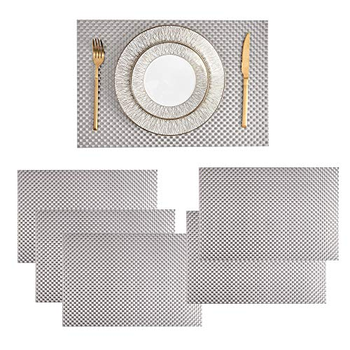 Eiyye 12x18 Inches Crossweave Placemats PVC Hollow Plastic Charger Plate Rectangle Table Mat Non-Slip Insulation Washables Set of 4 (Silver)