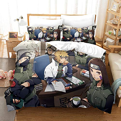 ECHODMFS Naruto Duvet cover for children and adults, Japan Anime Naruto bedding Set - Naruto Single 140X200CM 1 Duvet Cover and 2 Pillowcase