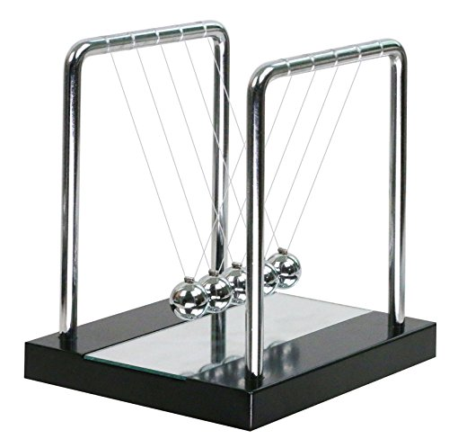 Mirror Newtons Cradle Balance Balls with Black Wooden Base Fun Science Physics Learning Toy Gadget Pendulum for Office Desk Toys and Home Decoration-Medium Mirror
