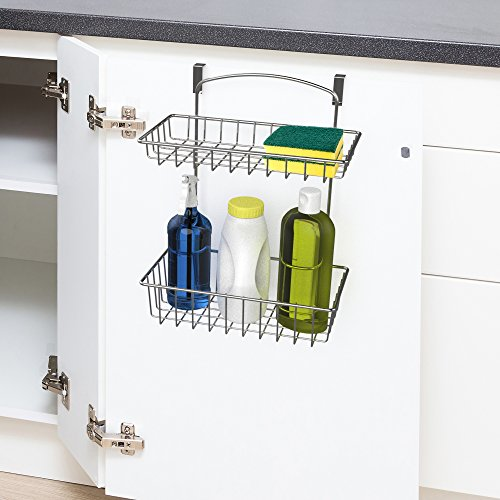 Over The Cabinet Kitchen Storage Organizer- 2 Tier Basket Shelf for Kitchen and Bathroom Organization by Classic Cuisine (Chrome)