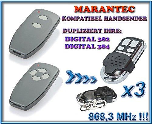 3 X Marantec Digital 382-868 / Digital 384-868 kompatibel handsender, klone fernbedienung, 4-kanal 868.3Mhz fixed code. Top Qualität Kopiergerät!!!