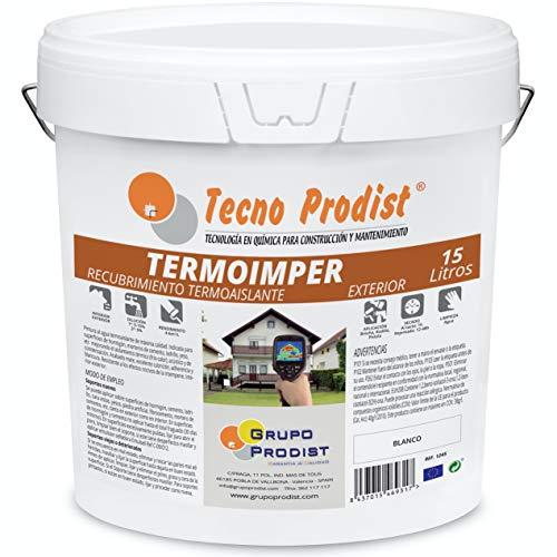 TERMOIMPER de Tecno Prodist - 15 Litros (BLANCO ÓPTICO) Pintura al agua Aislante Térmico Exterior - Impermeable Fachadas, Paredes y Techos - Aísla del calor y el frio (A Rodillo, Brocha, Pistola)